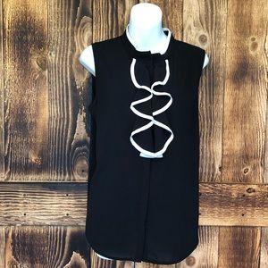 Calvin Klein - Black/White Sleeveless Ruffle Top-L
